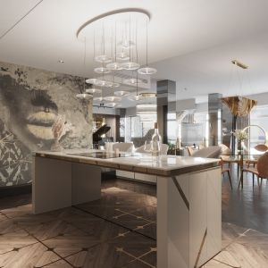 Dla zrównoważenia chłodnych odcieni dominujących w kuchni dodano szlachetne barwy złota. Projekt: Katarzyna Weremczuk, Weremczuk Design. Fot. Złota 44