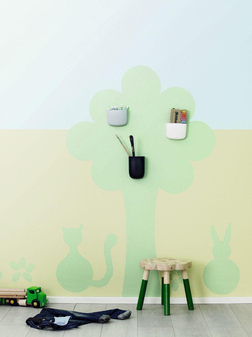 Pomysł na dekorację ściany w pokoju dziecka. Na zdj. Tikkurila Optiva Satin Matt 7_