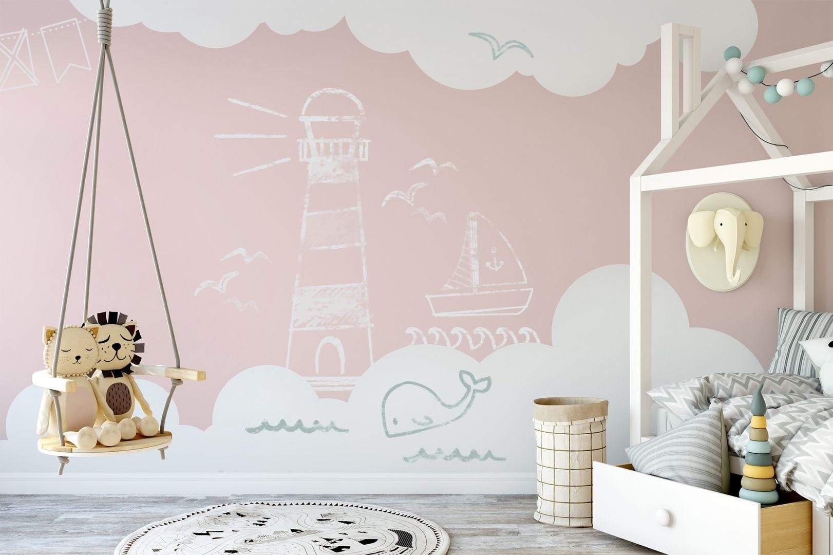 Pomysł na dekorację ściany w pokoju dziecka. Na zdj. Tikkurila Liitu F336 Marshmallow