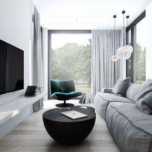 W małym salonie w bloku strefa wypoczynku z kanapą i telewizorem oraz stolikiem kawowym powinna być jasna i raczej neutralna kolorystycznie. Projekt AM.Home