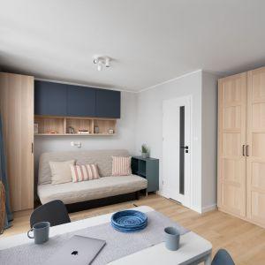 Część wypoczynkowa z rozkładaną do spania kanapą. Projekt wnętrza, stylizacja: Ola Dąbrówka, pracownia Good Vibes Interiors. Zdjęcia: Mikołaj Dąbrowski