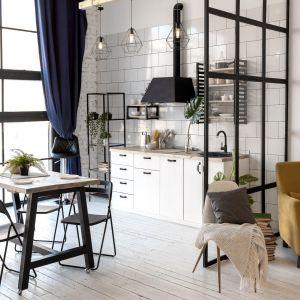 Pomysł na małą białą kuchnię  - aneks kuchenny w czarnym i białym kolorze. Fot. Ferro