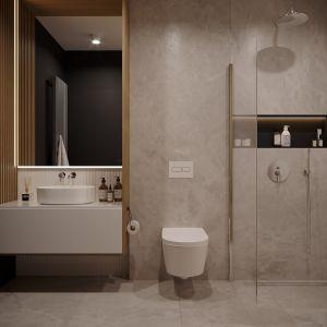 Nowoczesna łazienka w kolorach ziemi. Projekt: architekt Sebastian Marach, YONO Architecture, MAST. studio - Maria Trojnara, Joanna Stawiak