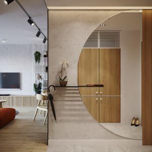 Strefa wejściowa z pięknym okrągłym lustrem. Projekt: architekt Sebastian Marach, YONO Architecture, MAST. studio - Maria Trojnara, Joanna Stawiak