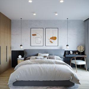 Zabudowa meblowa w sypialni ma eleganckie ryflowane fronty. Projekt: architekt Sebastian Marach, YONO Architecture, MAST. studio - Maria Trojnara, Joanna Stawiak
