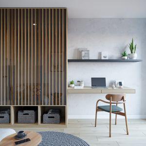 Miejsce do pracy w sypialni. Projekt: architekt Sebastian Marach, YONO Architecture, MAST. studio - Maria Trojnara, Joanna Stawiak
