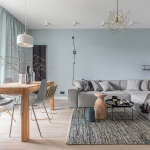 Jasnoniebieskie zasłony korespondują z kolorem ściany za kanapą w salonie. Projekt Alina Fabirowska. Fot. Pion Poziom