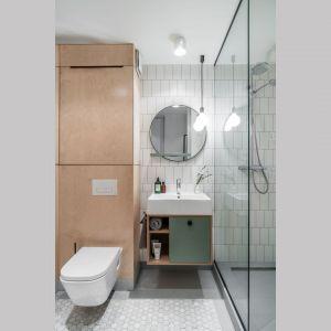 W małej łazience zastosowano spokojną bazą białych i szarych płytek, ocieplona sklejką wyeksponowaną na dużej powierzchni szaf oraz wspomnianych wcześniej elementach w kolorze zielonym.Projekt: Raca Architekci. Fot. Fotomohito