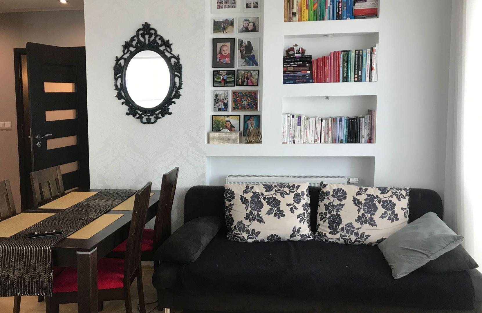 Kuchnia, jadalnia, salon i do tego część biurowa na jednej przestrzeni – widok przed. Fot. Salony Agata