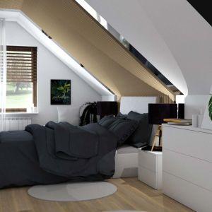 Nowoczesna i minimalistyczna sypialnia na wymagającej przestrzeń – widok po. Fot. Salony Agata