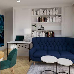 Kuchnia, jadalnia, salon i do tego część biurowa na jednej przestrzeni – widok po. Fot. Salony Agata