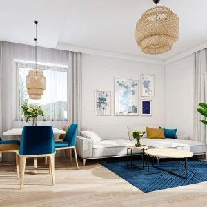Wnętrze podzielono na przestrzeń dzienną – z salonem, kuchnią i holem, oraz na część nocną – z trzema sypialniami i łazienką. Projekt: arch. Michał Gąsiorowski. Fot. MG Projekt
