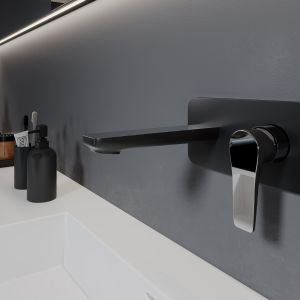 W łazience z przewagą tonacji black ważną funkcję pełni oświetlenie. Fot. Ferro