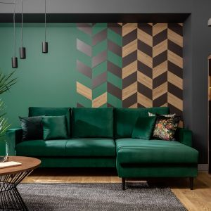 Narożnik Rimi w modnym zielonym kolorze dostępny w salonach BRW za 2.699 zł