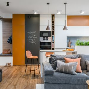Wykończenie drewnem sufitu czy podłogi dodatkowo ociepli wizualnie pokój i będzie naturalnym elementem wspólnym dla salonu i kuchni. Projekt Katarzyna Krupa. Fot. Stan Zajączkowski