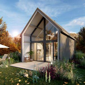 Dom modułowy bez pozwolenia na budowę. Powierzchnia 35 m2. Autorzy projektu: make Architekci. Wykonanie: ModuTechnic