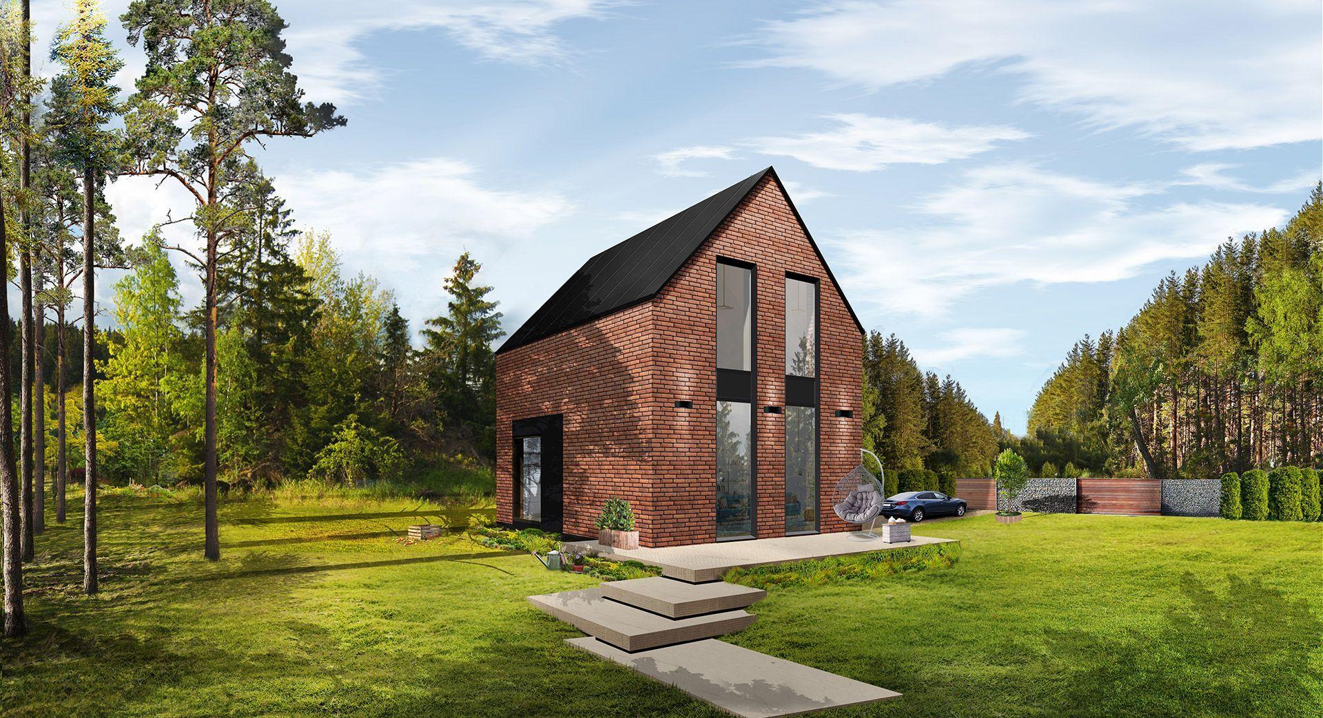 Modułowy dom Boxi1, z piętrem. Powierzchnia: 35 m2. Autorzy projektu: Contibox.pl