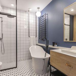 Kolor niebieski w łazience. Projekt: Joanna Dziurkiewicz, Tworzywo studio. Fot. Pion Poziom