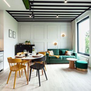Mały salon w bloku z aneksem kuchennym. Gwiazdą części wypoczynkowej jest sufit, wykończony czarnymi listwami z laminatu i mchem chrobotkiem. Projekt: Arkadiusz Grzędzicki Projektowanie Wnętrz. Fot. Olga Kharina, XO foto