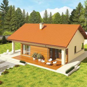 Dużym atutem domu Tori III G1 Economic (wersja B) jest ciekawie zaprojektowany, częściowo zadaszony taras – idealny na relaks w towarzystwie rodziny i przydomowej zieleni. Autorzy projektu: pracownia Archipelag