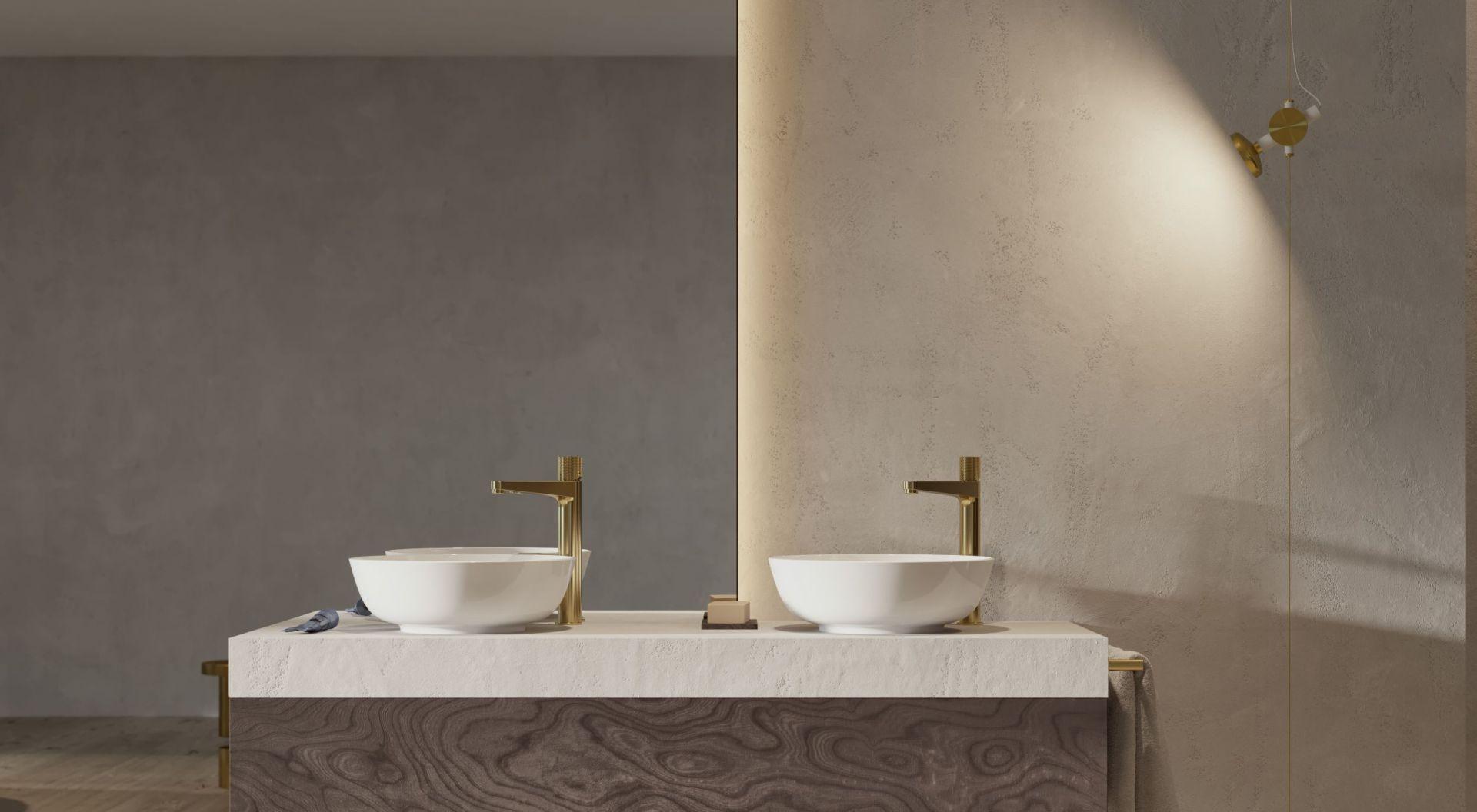 Złoto szczotkowane jest szlachetnym wykończeniem o eleganckim odcieniu i współczesnej, satynowej powierzchni. Fot. Omnires