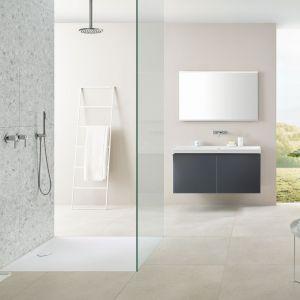 W minimalistycznej łazience sprawdzi się kabina bez brodzika lub z ultrapłaskim brodzikiem. Fot. Geberit