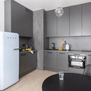 Szare meble w małej kuchni z pojemnymi szafkami. Projekt Decoroom. Fot. Pion Poziom