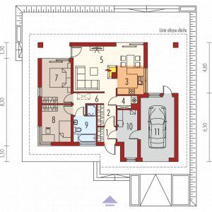1. Wiatrołap 2.36 m² 2. Hol 6.28 m² 3. Kuchnia 6.48 m² 4. Spiżarnia 1.77 m² 5. Pokój dzienny + jadalnia 22.19 m²  6. Korytarz 2.32 m² 7. Sypialnia 11.04 m²  8. Sypialnia 9.90 m² 9. Łazienka 6.06 m²  10. Kotłownia 7.55 m²  11. Garaż 18.17 m²