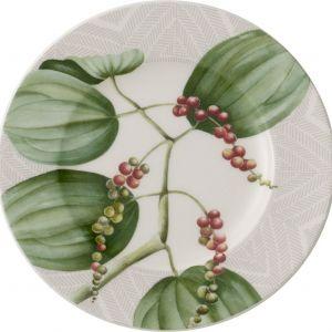 Porcelanowy talerz z kolorowym nadrukiem MALINDI TELLER w modne motywy roślinne. Nowość, Villeroy&Boch, rossi.pl