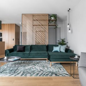 Modny dywan w salonie, roślinny wzór i butelkowy zielony kolor. Projekt Marta i Michał Raca, pracownia Raca Architekci. Zdjęcia Fotomohito
