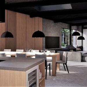 Salon łączy się z kuchnią. Projekt: pracownia Core