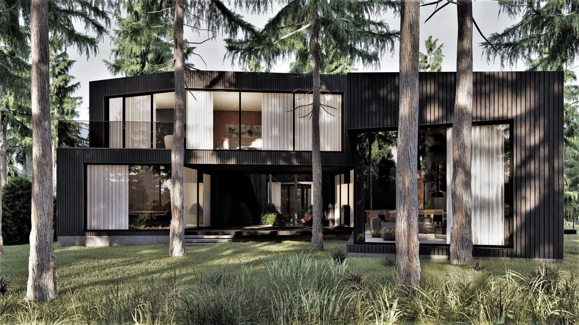 Dom lawiruje między drzewami, tak aby nie uszkodzić korzeni i uniknąć konieczności wycinki zbyt dużej ich ilości. Projekt: pracownia Core