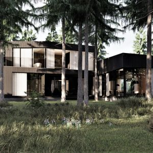Burned house (Spalony dom) pięknie wtapia się we wspaniały krajobraz, którego jednak nie dominuje. Projekt: pracownia Core