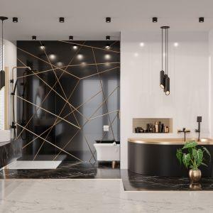 Bateria umywalkowa MIDNIGHT kolor Black Gold Rose to nowatorskie i przy tym eleganckie połączenie dwóch najmodniejszych we wnętrzarstwie kolorów. 295 zł, Invena, invena.pl