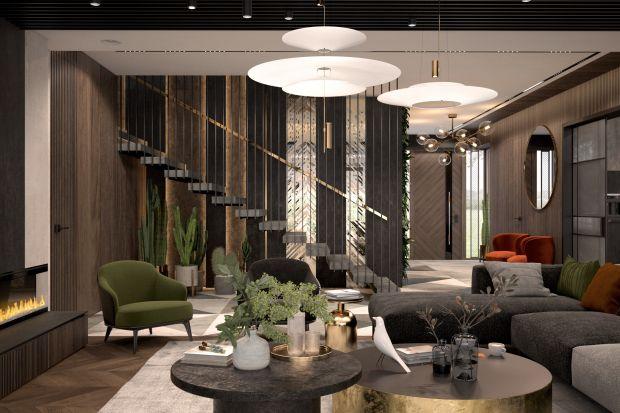 Projekt domu o powierzchni ponad 300 m kw. był nie lada wyzwaniem. Właściciele marzyli o eleganckich, ciemnych wnętrzach łączących współczesne luksusowe formy z elementami loftowymi. Użycie kilku dominujących materiałów oraz niezwykła dbało
