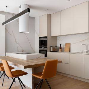 Kuchnia urządzona jest w stylu minimalistycznym. Projekt: Tomasz Kaim, Agnieszka Drużkowskam, kaim.work. Fot.  Patryk Polewany