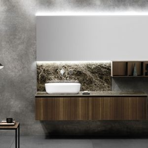 Prosta łazienka w stylu japońskim, urządzona przy użyciu spieków kwarcowych. Fot. mat. prasowe Laminam