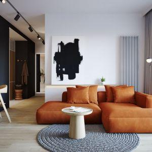 Ściana za kanapa w salonie wykończona jest białą farbą. Na jasnym tyle pięknie prezentuje się niebanalny obraz. Projekt: architekt Sebastian Marach, YONO Architecture, MAST. studio - Maria Trojnara, Joanna Stawiak