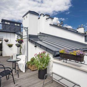 Taras na dachu budynku urządzony w paryskim stylu. Projekt: Agata Kasprzyk-Olszewska. LOFT Factory. Fot. Piotr Gęsicki