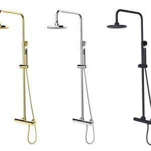 Zestawy termostatyczne Decco/Illusion dostępne w kolorach chrom, czarny matt i złoty. Fot. Besco