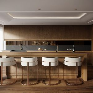 Kuchnia została zaprojektowana z użyciem klasycznych, ponadczasowych materiałów. Projekt: Joanna Kulczyńska. Wizualizacje: Blok Studio