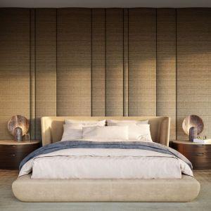 W sypialni ściany i sufit zostały wyłożone tkaninami i tekstylnymi tapetami. Projekt: Joanna Kulczyńska. Wizualizacje: Blok Studio