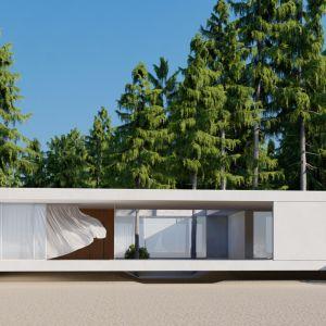 Dom zaprojektowano tak, aby chronić go przed wiatrem i wodą. Projekt: pracownia Core