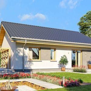 Dom można wzbogacić o wiatę garażową, garaż lub zadaszenie nad tarasem ogrodowym, Projekt: arch. Michał Gąsiorowski. Fot. MG Projekt