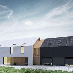 Budynek został zaprojektowany jako połączenie dwóch brył o takich samych proporcjach elewacji szczytowych z cofnięciem jednej części względem drugiej. Projekt: Duch Projektanci