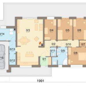 1. Wiatrołap 3.52 m2 2. Hol 7.12 m2 3. Salon + Kuchnia 42.56 m2 4. Pokój 9.44 m2 5. Pokój 12.01 m2 6. Pokój 12.45 m2 7. Garderoba 2.26 m2 8. Pokój 14.2 m2 9. Łazienka 8.4 m2 10. Korytarz 5.2 m2 11. Wc 2.06 m2 12. Pom. gospodarcze2. 79 m2 13. Komuniakcja gospod. 3.09 m2 14. Kotłownia 11.08 m2 15. Garaż 18.26 m2