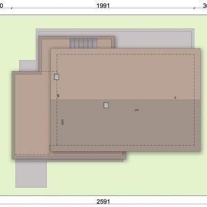 Usytuowanie domu na działce. Projekt: pracownia Archand