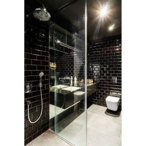 Łazienka z prysznicem urządzona jest w czarnym kolorze. Czarne jest tu wszystko łącznie z sufitem. Projekt: pracownia Magma. Fot. Fotomohito