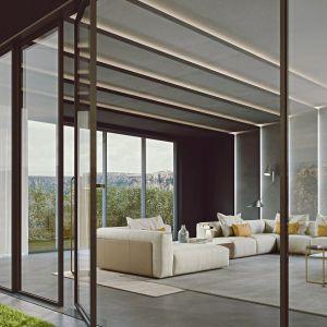 Sofa w salonie. Na zdj. kolekcja Soul and Lyra włoskiego producenta Turri