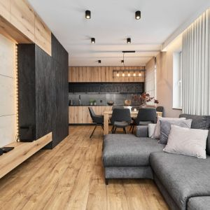 Salon z kuchni urządzono w stylu nowoczesnym. Projekt: Monika Staniec. Fot. Wojciech Dziadosz